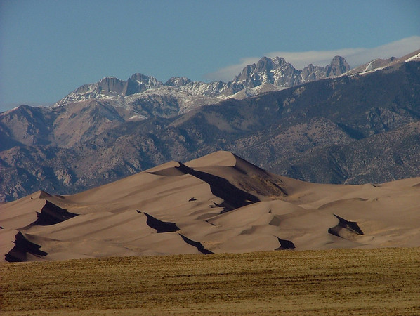Kit Carson Mountain, Crestone Peak, Crestone Needle and Great Sand Dunes14,165, 14,294 and 14,197 feet
