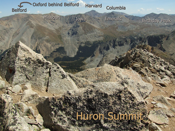 Collegiate Peaks view from Huron Peak