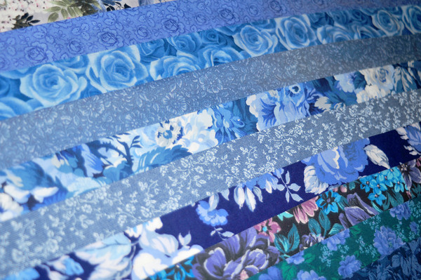 blue floral strips
