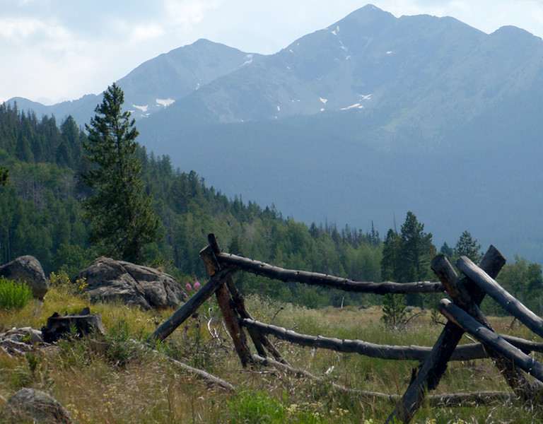 12,933 foot Tenmile Peak and 12,805 foot Peak 1 oversee an aging fence from simpler times.