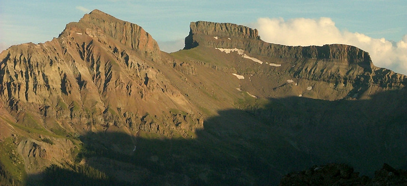 Redcliff 13,642 ft (L) and Coxcomb 13,656 ft from the summit of 12,152 ft Courthouse Mountain at sunset