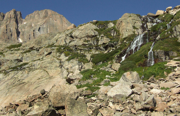 Longs Peak and Chasm Falls below Mount Lady Washington