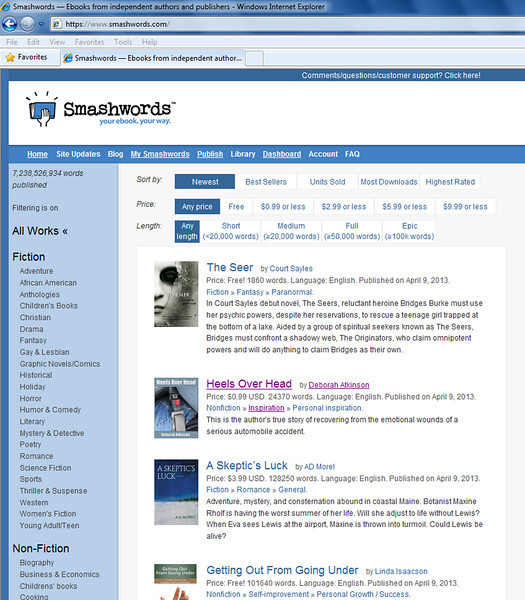 Lasted only a few minutes, but I was on the front page of Smashwords!