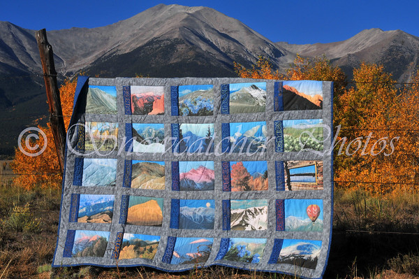 Half of my 14er Quilt in front of Mount Princeton