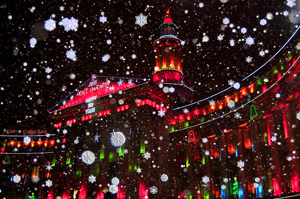 Denver City and County Building with digitally enhanced snowflakes