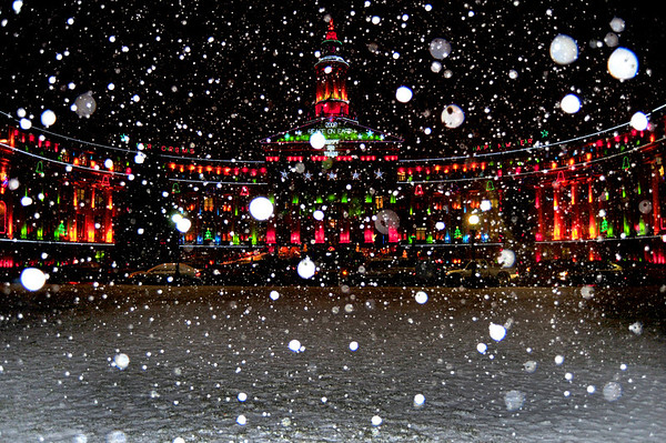 Denver City and County Building on a Snowy Night